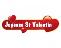 Sticker St Valentin long avec coeurs