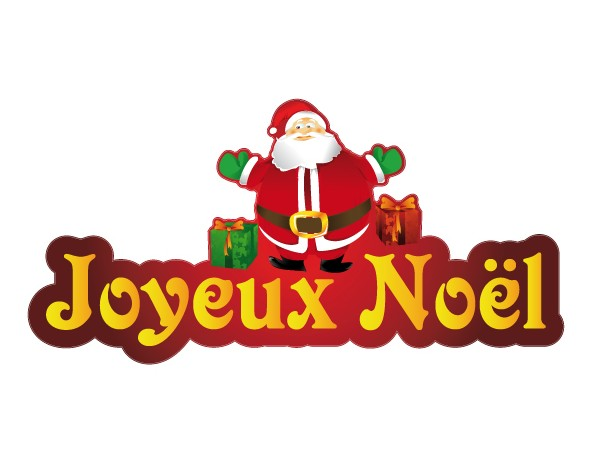 sticker joyeux noel p re noel et ses cadeaux. Black Bedroom Furniture Sets. Home Design Ideas