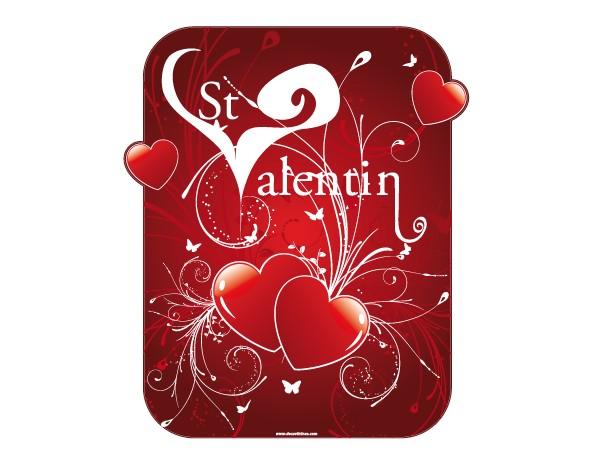 Stickers saint valention coeur rouge sticker explosion d - Deco vitrine st valentin ...
