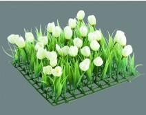 Kit 4 plaques gazon et tulipes blanches