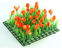 Kit 4 plaques gazon et tulipes oranges