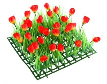 Kit 4 plaques gazon et tulipes rouges