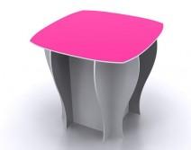 TABLE BLANCHE + PLATEAU COULEUR