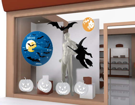 autocollant de vitrine halloween repositionnable chauve souris. Black Bedroom Furniture Sets. Home Design Ideas
