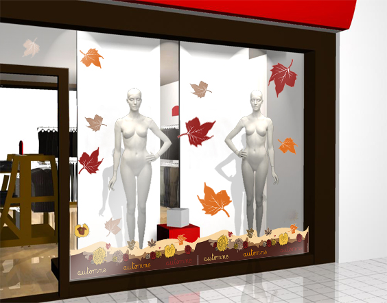 Decoration Vitrine Theme Automne : Decoration vitrine automne