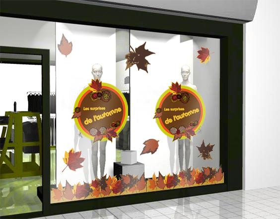 sticker automne 03 decovitrines. Black Bedroom Furniture Sets. Home Design Ideas