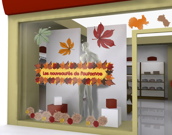 Decoration Automne Vitrine : Sticker automne decovitrines