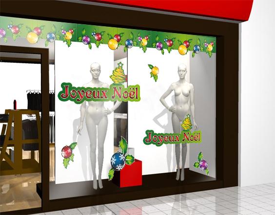 d coration vitrine de noel 5 stickers boules de noel. Black Bedroom Furniture Sets. Home Design Ideas