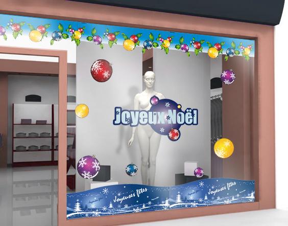 sticker de noel de vitrine sticker de vitrine joyeuses f tes. Black Bedroom Furniture Sets. Home Design Ideas