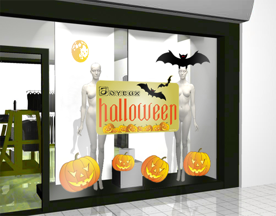 sticker halloween autocollant int rieur de la vitrine et repositionnable. Black Bedroom Furniture Sets. Home Design Ideas