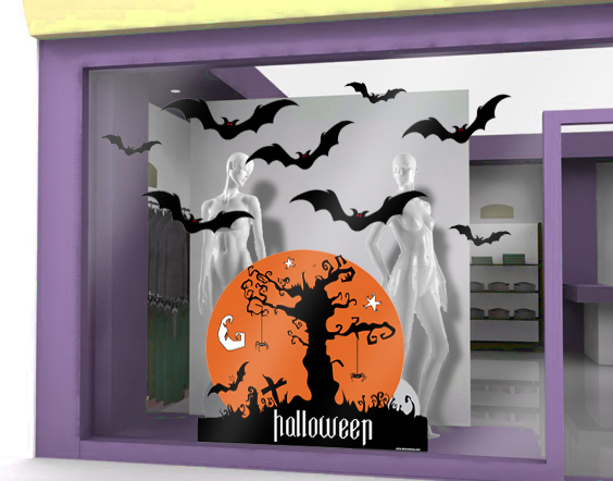 sticker halloween 13 decovitrines. Black Bedroom Furniture Sets. Home Design Ideas