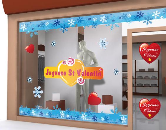 Sticker joyeuse saint valentin fuchsia et orang for Deco st valentin vitrine