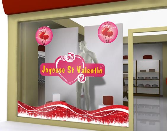 sticker joyeuse st valentin rond pour f ter la f te des amoureux sur votre vitrine. Black Bedroom Furniture Sets. Home Design Ideas