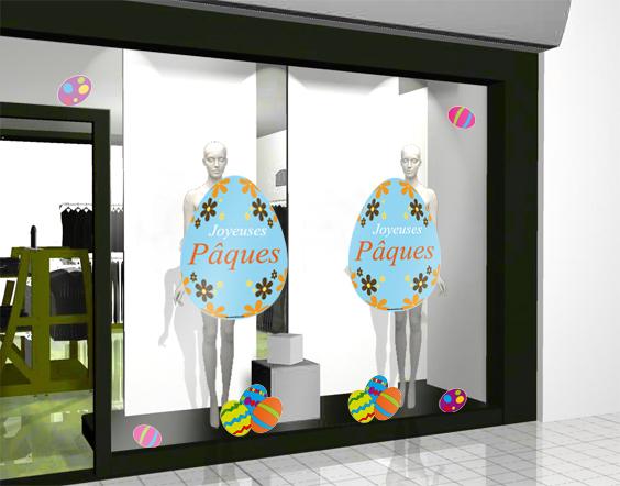Sticker oeuf de paques pour d coration de vitrine de magasin - Decoration paques vitrine ...