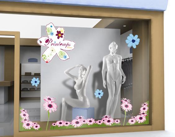 sticker printemps 17 decovitrines. Black Bedroom Furniture Sets. Home Design Ideas