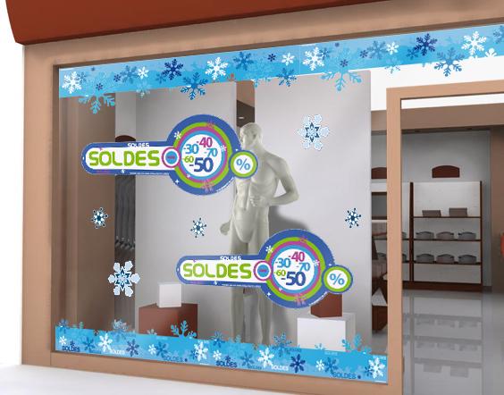 Stickers soldes d 39 hiver avec pourcentages de r duction sur for Miroir 60x150
