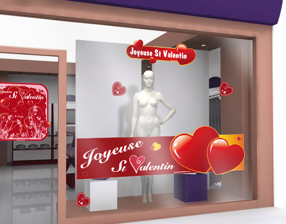Stickers de saint valentin 13 decovitrines for Deco st valentin vitrine